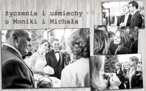życzenia i uśmiechy na czarnobiałych zdjęciach ślubnych